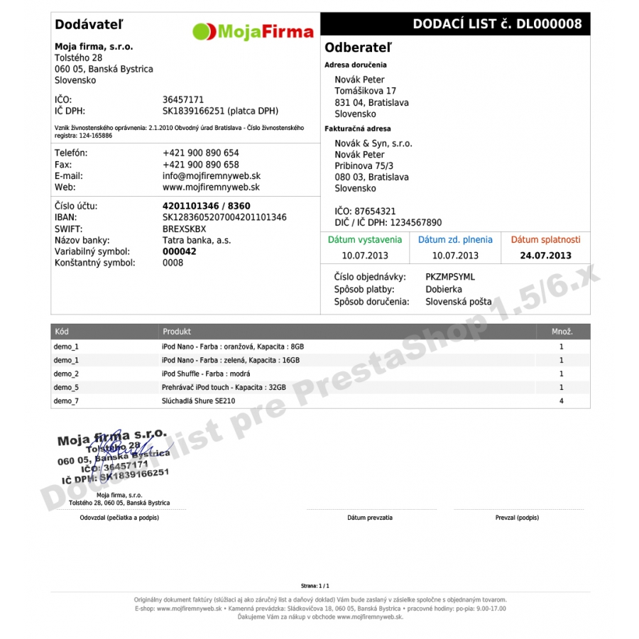 Module Czech and Slovak invoice delivery and order slip for – Delivery Slip