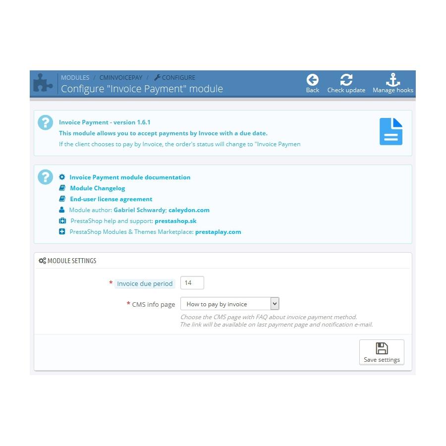Invoice Payment For PrestaShop Payment Gateway - Pay via invoice