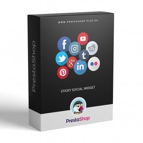 Panel s přilepenými sociálními ikonami pro PrestaShop