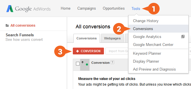 Google AdWords: List of conversions