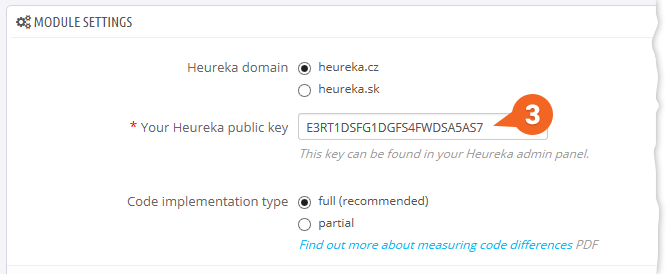 Heureka Conversion Tracking: Adding the public key into PrestaShop module